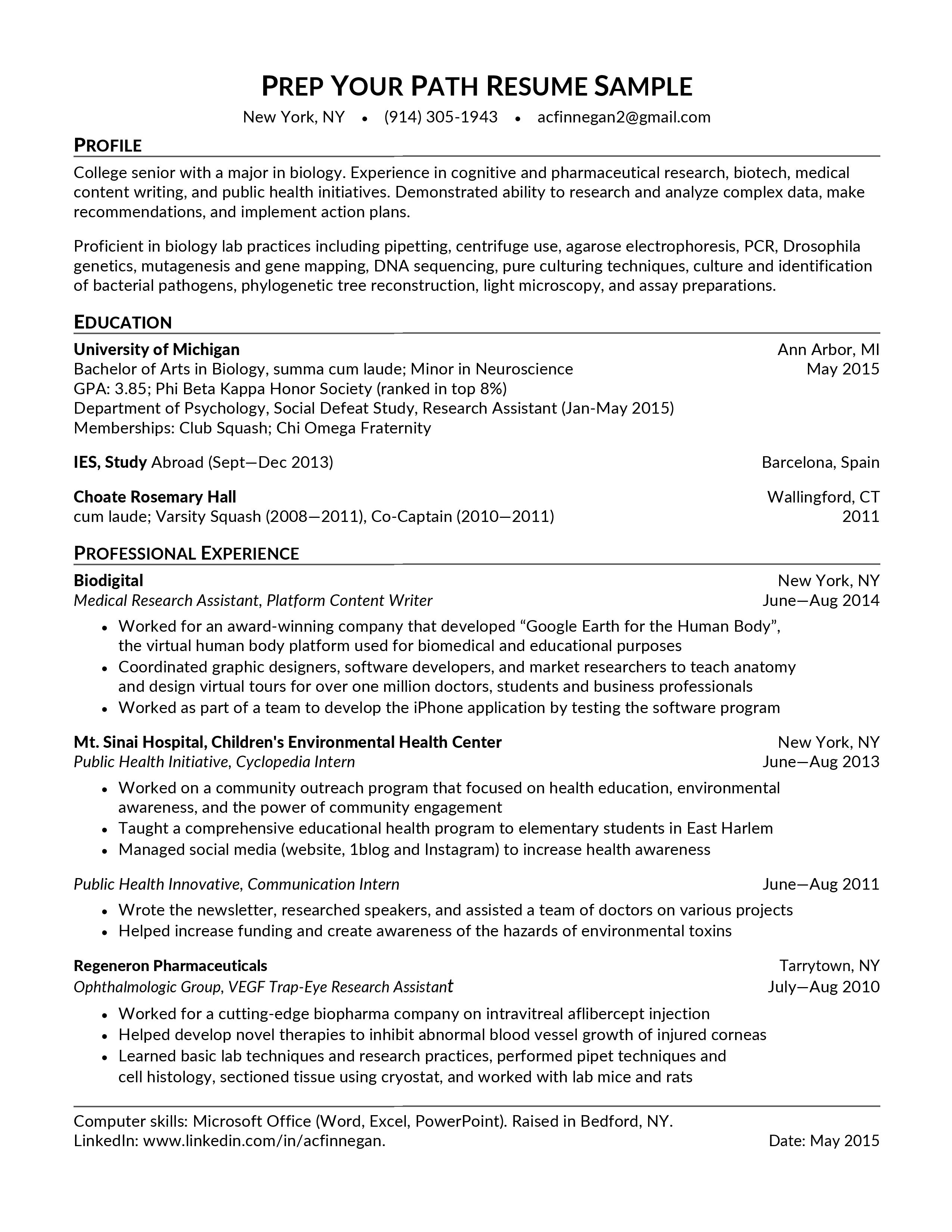 college resume after