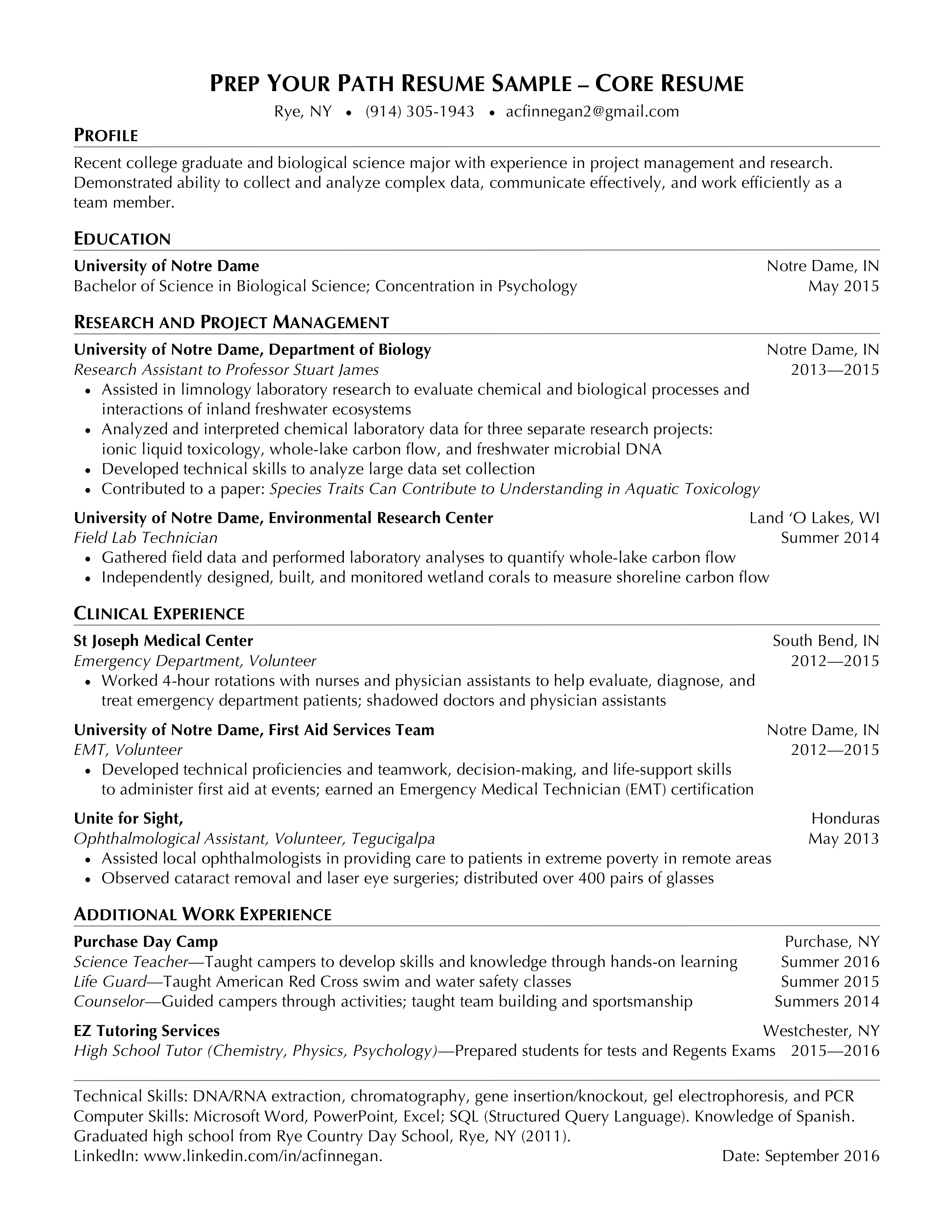 Prep Your Path Resume Sample Core Resume