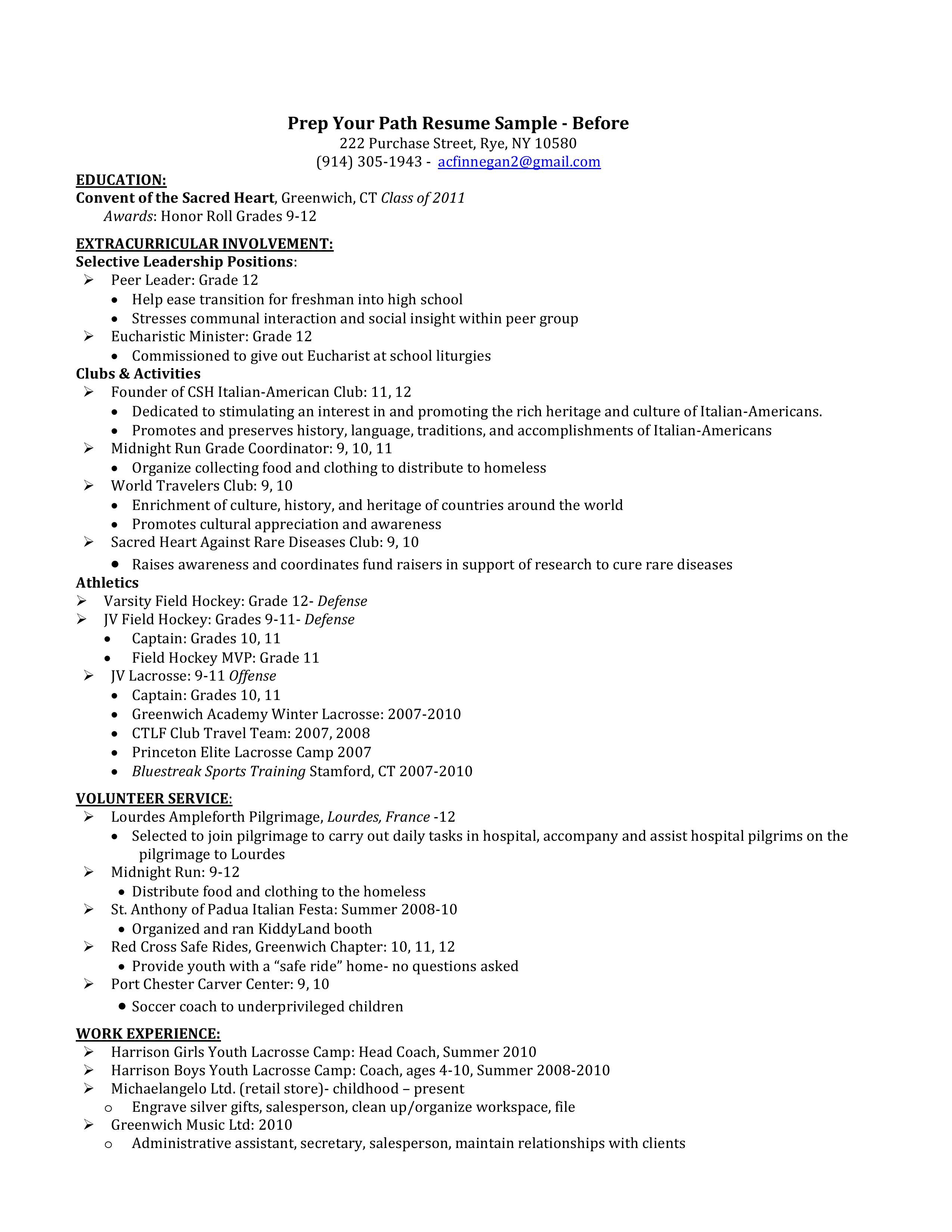Resume - Before