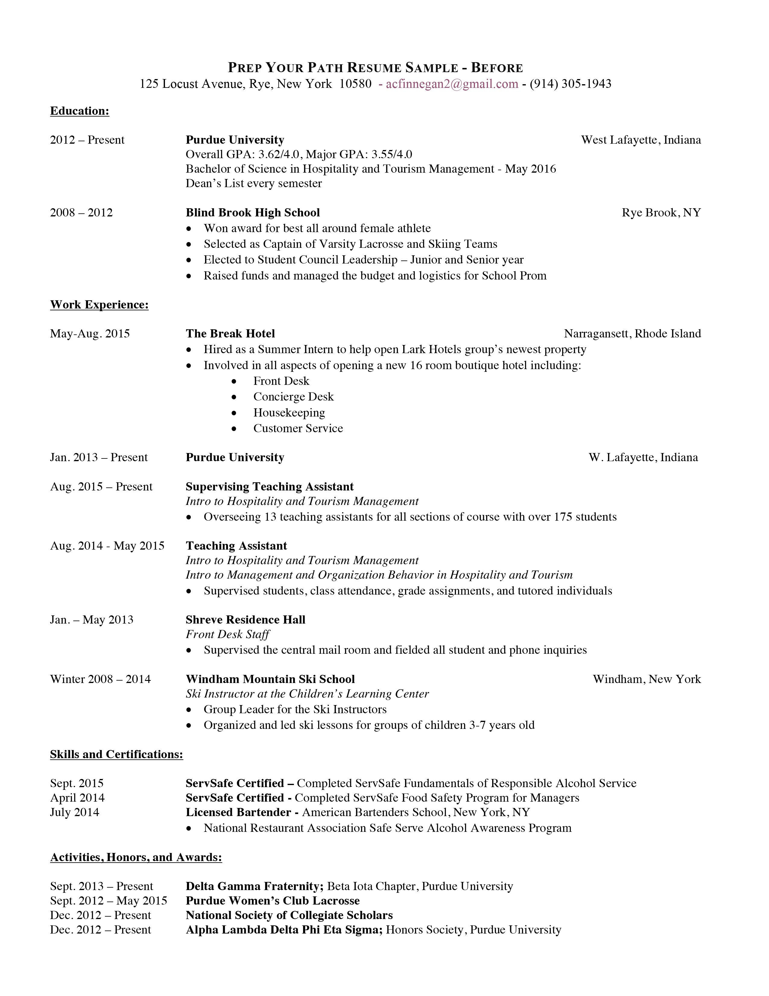 Professional Resume - Before