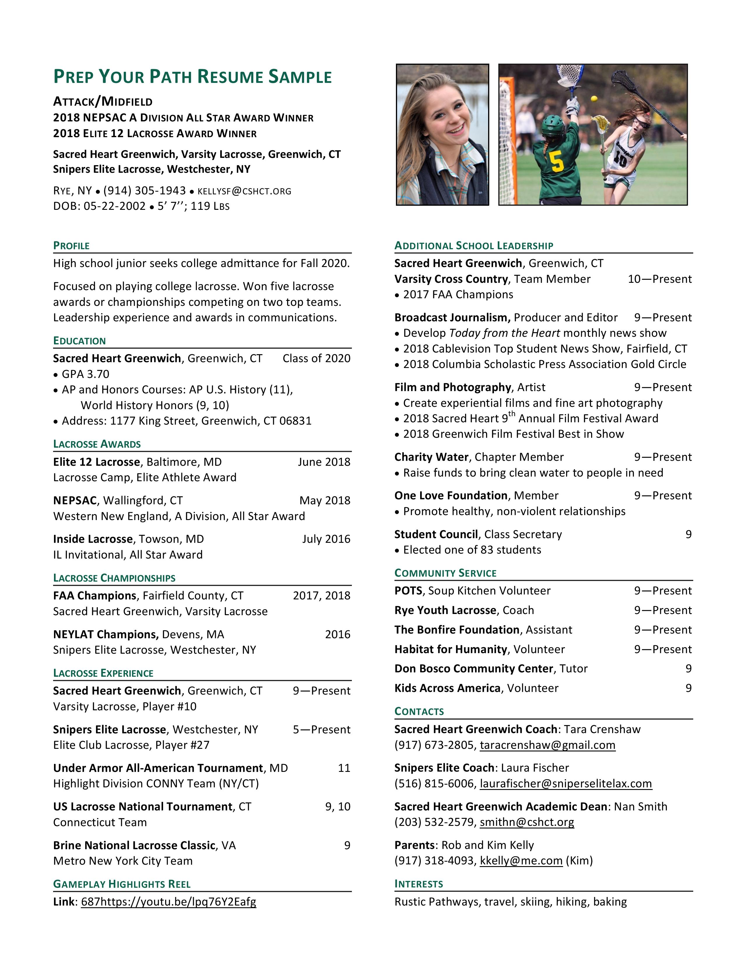 High School Sports Resume