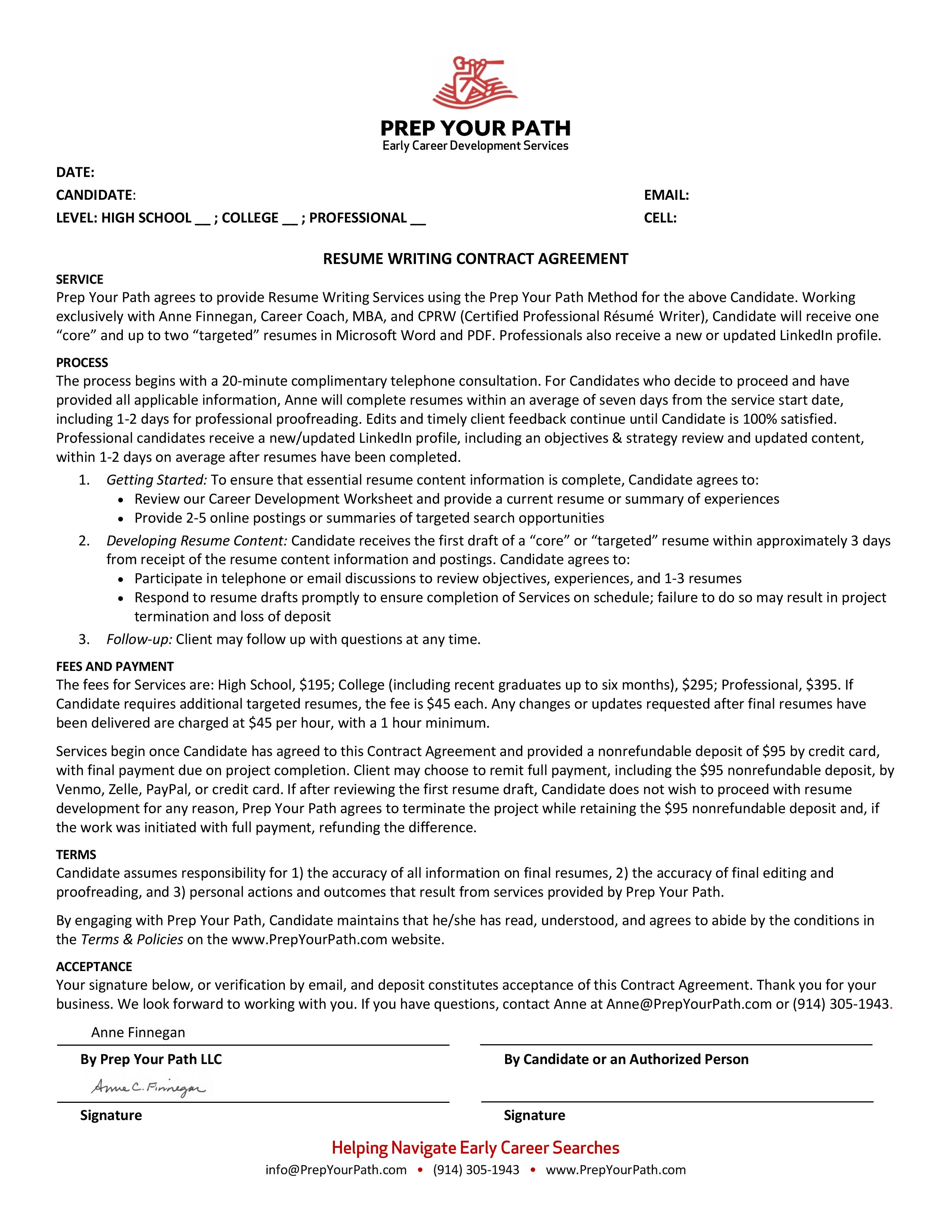 Resume Writing Contract Agreement